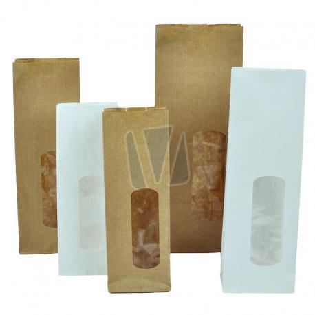Papieren blokzakken met venster (per doos)