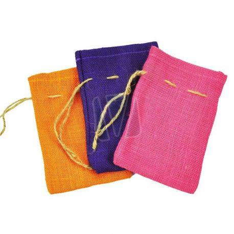 Gekleurde jute zakken met rijgkoord 12 x 18 cm (per stuk)