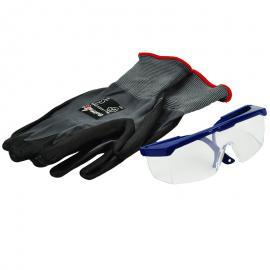 Set met veiligheidsbril en werkhandschoenen