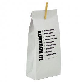 Bedrukte papieren zak 10 reasons met knijper