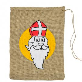 Jute zak met Sinterklaas opdruk 30 x 40 cm
