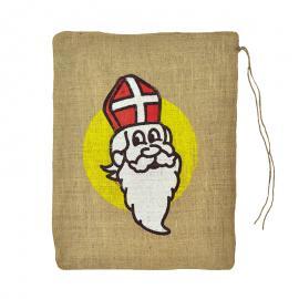 Jute zak met Sinterklaas opdruk 45 x 60 cm